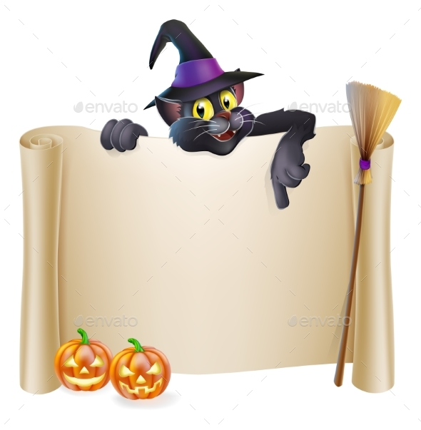 Halloween Witch Cat Scroll - Miscellaneous Vectors