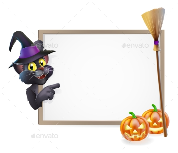 Halloween Black Cat Sign - Miscellaneous Vectors