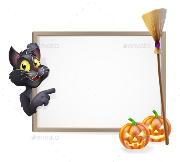 Witch Cat Halloween Sign - Miscellaneous Vectors