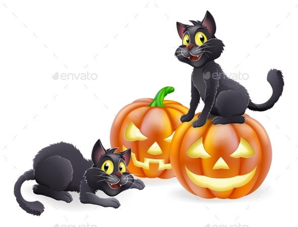 Halloween Cats and Pumpkins - Animals Characters