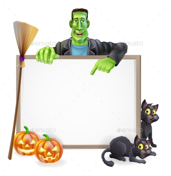 Frankenstein Halloween Sign - Miscellaneous Vectors