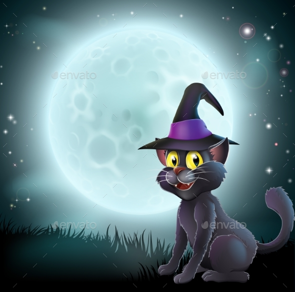 Halloween Full Moon Witch Cat - Animals Characters
