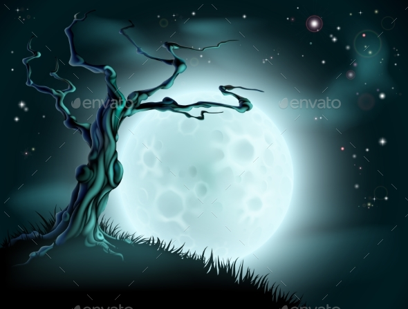 Blue Halloween Moon Tree Background - Backgrounds Decorative