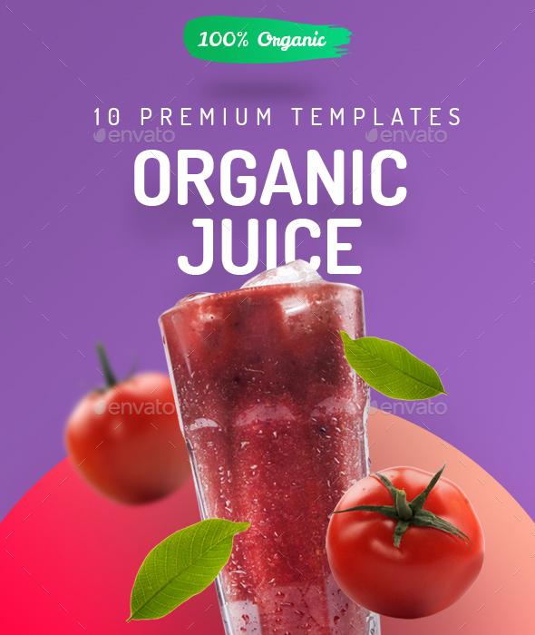 Organic Juice - 10 Premium Hero Image Templates - Hero Images Graphics