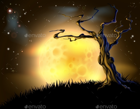 Orange Halloween Moon Tree Background - Backgrounds Decorative