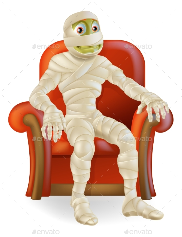 Halloween Mummy in Chair - Monsters Characters