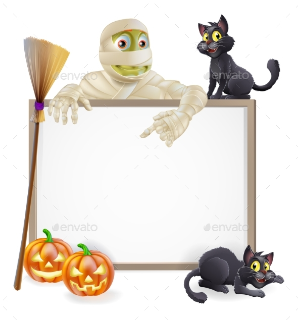 Mummy Halloween Sign - Backgrounds Decorative