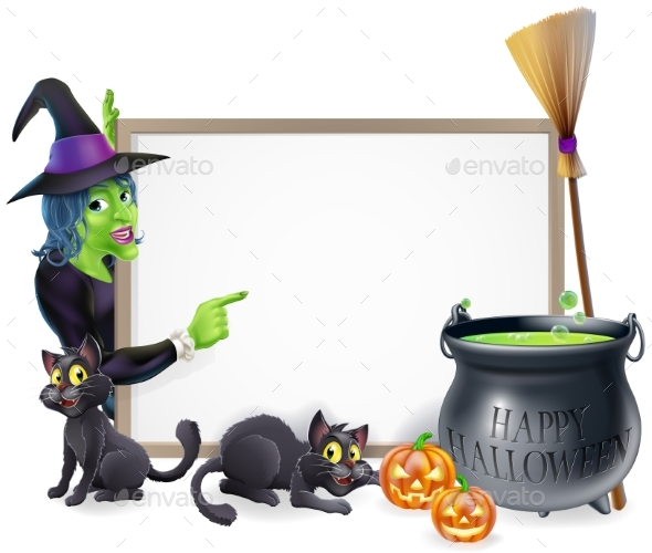 Cartoon Witch Halloween Sign - Miscellaneous Seasons/Holidays