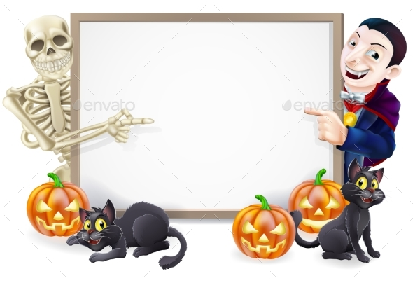 Halloween Sign with Skeleton and Dracula - Miscellaneous Vectors