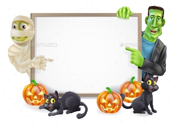 Halloween Sign with Mummy and Frankenstein - Backgrounds Decorative