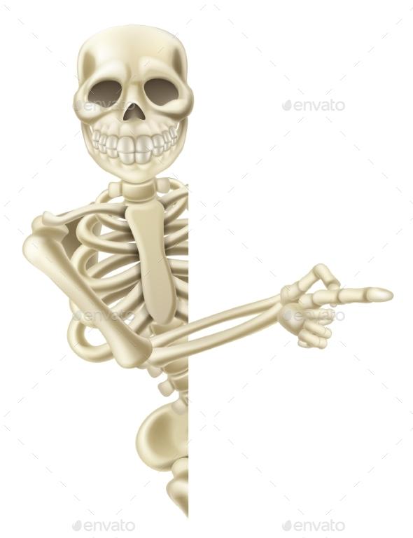 Pointing Cartoon Halloween Skeleton - Miscellaneous Vectors