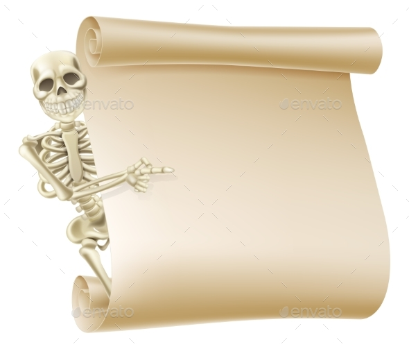 Halloween Skeleton Scroll - Backgrounds Decorative