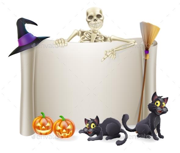 Halloween Skeleton Scroll - Miscellaneous Vectors