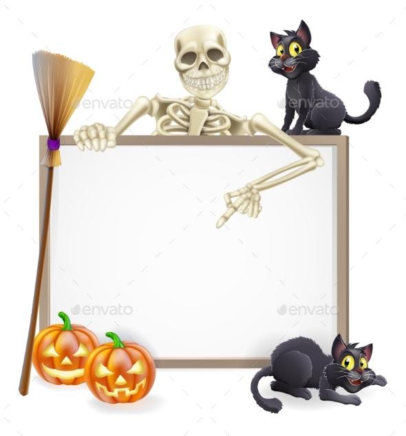 Skeleton Halloween Sign - Miscellaneous Seasons/Holidays