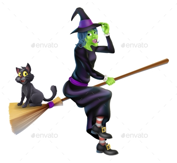 Halloween Witch on Broomstick with Cat - Miscellaneous Characters