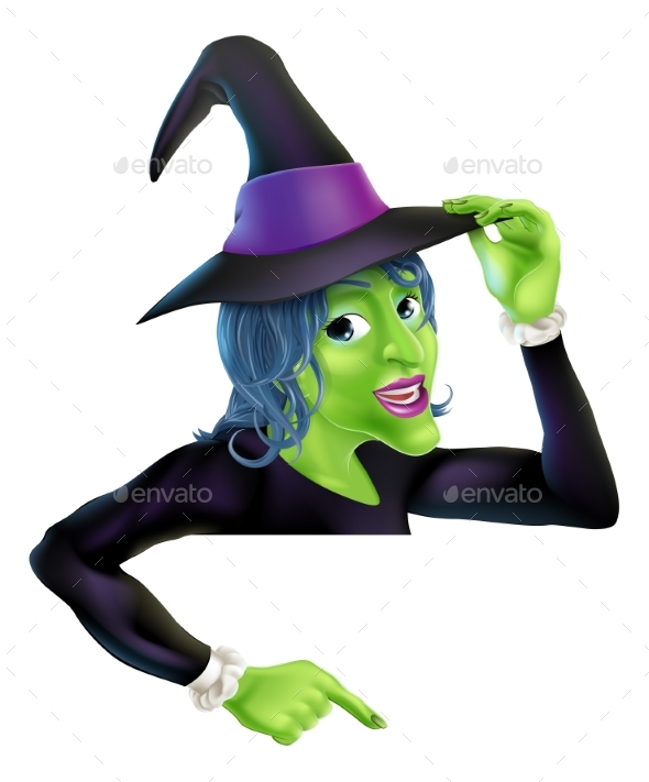 Halloween Witch Pointing - Miscellaneous Vectors