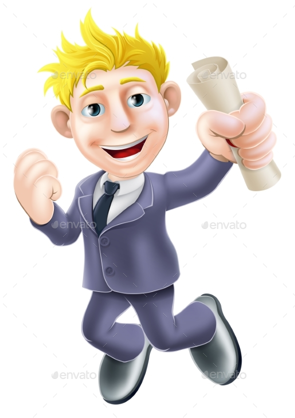 Jumping Businessman and Scroll - Miscellaneous Vectors