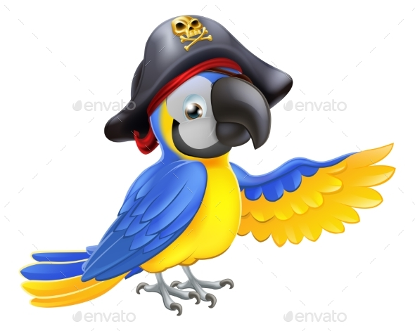 Pirate Parrot Illustration - Animals Characters
