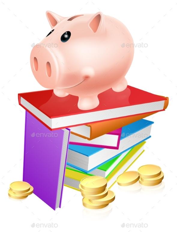 Piggy Bank on Books - Miscellaneous Vectors