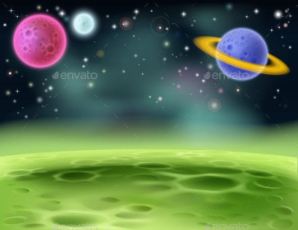 Outer Space Cartoon Background - Landscapes Nature