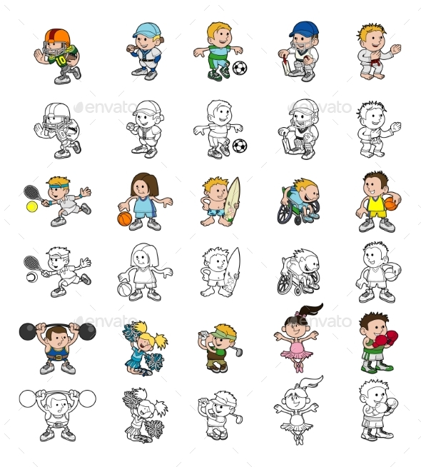 Cartoon People Playing Sports - Sports/Activity Conceptual