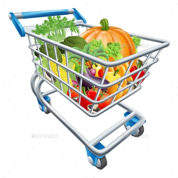 Vegetable Shopping Cart Trolley - Food Objects