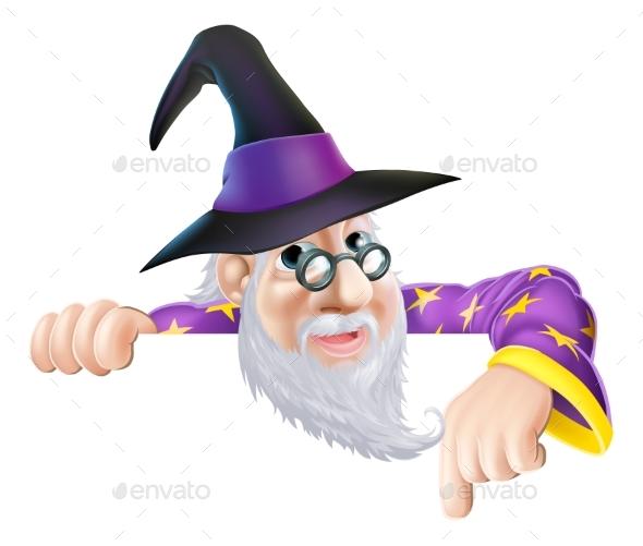Wizard Peeking Over Sign - Miscellaneous Vectors
