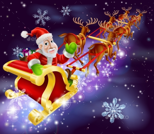 Christmas Santa Claus Flying Sleigh with Gifts - Backgrounds Decorative