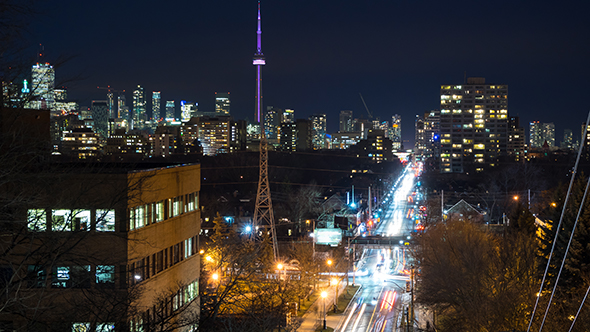VideoHive City Skyline Toronto Streets at Night 19720838
