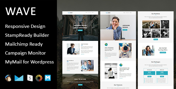 Image of Wave - Multipurpose Responsive Email Template with Stampready Builder Access
