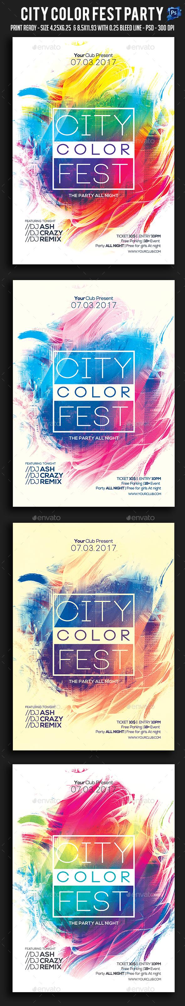 City Color Fest Party Flyer - Clubs & Parties Events