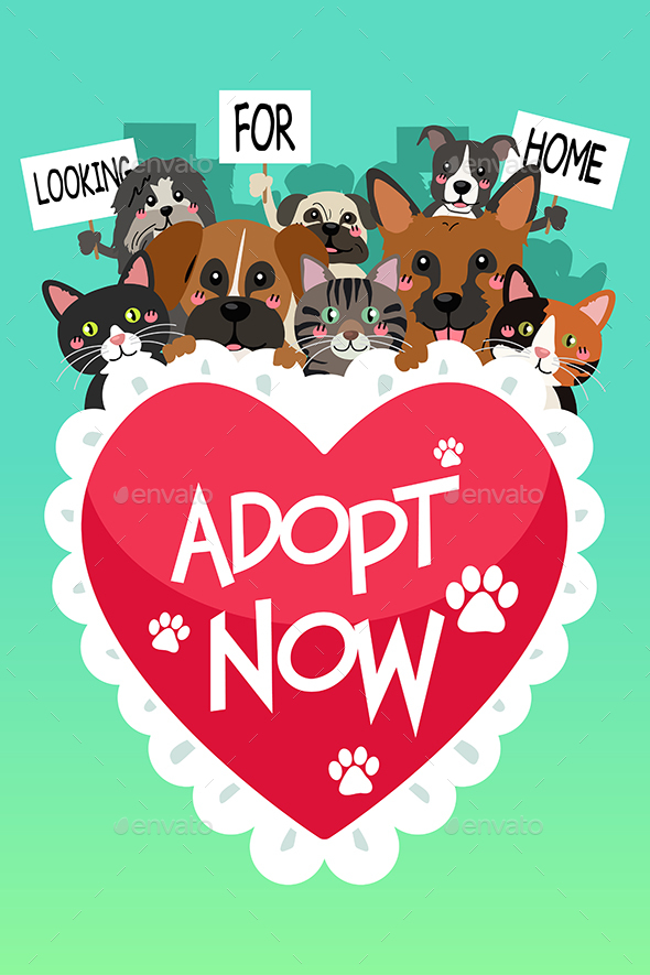 Pets For Adoption Poster - Animals Characters