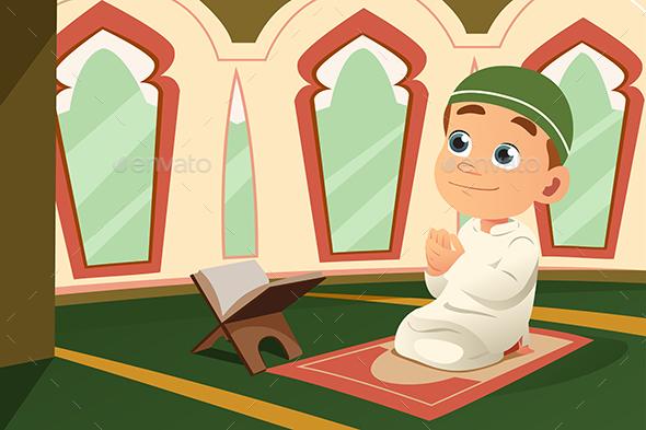 Muslim Kid Praying in Mosque - People Characters