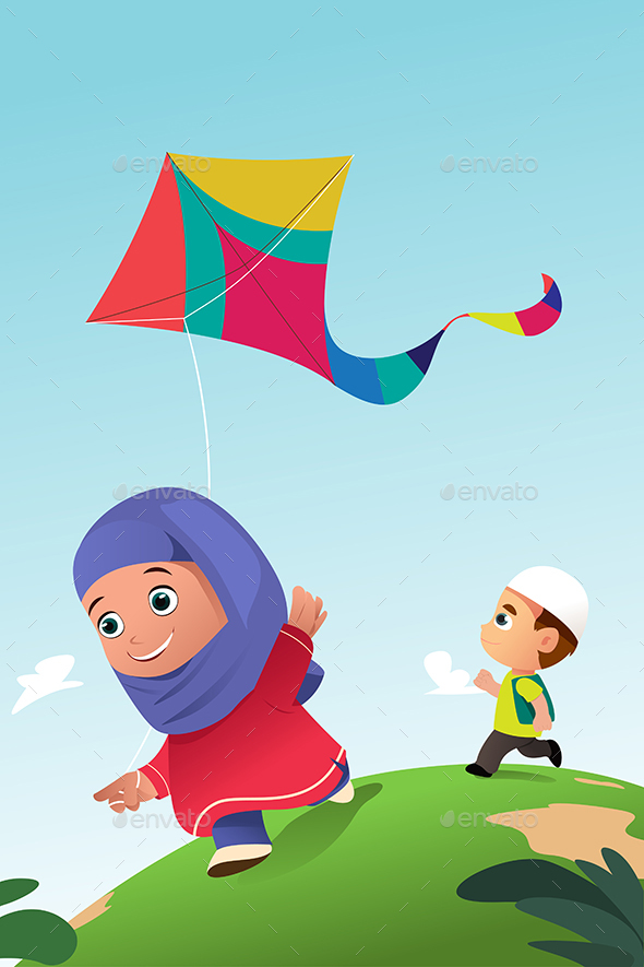 Muslim Kids Playing Kite Outdoor - People Characters