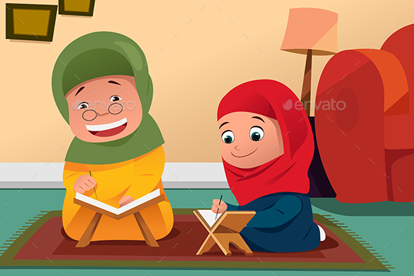 Muslim Mother and Daughter Studying Quran at Home - People Characters