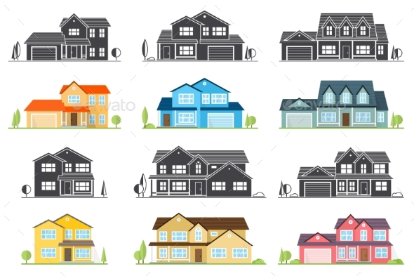 Vector Flat Icon Suburban American House. - Buildings Objects