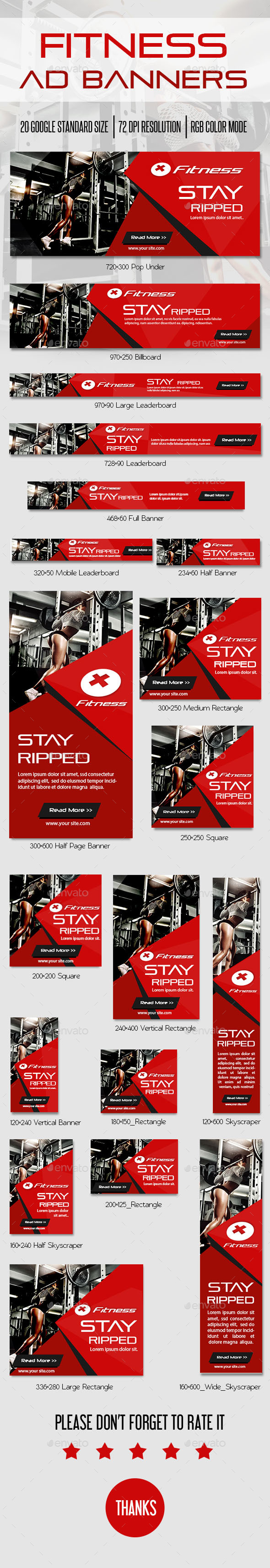Fitness Ad Banner - Banners & Ads Web Elements