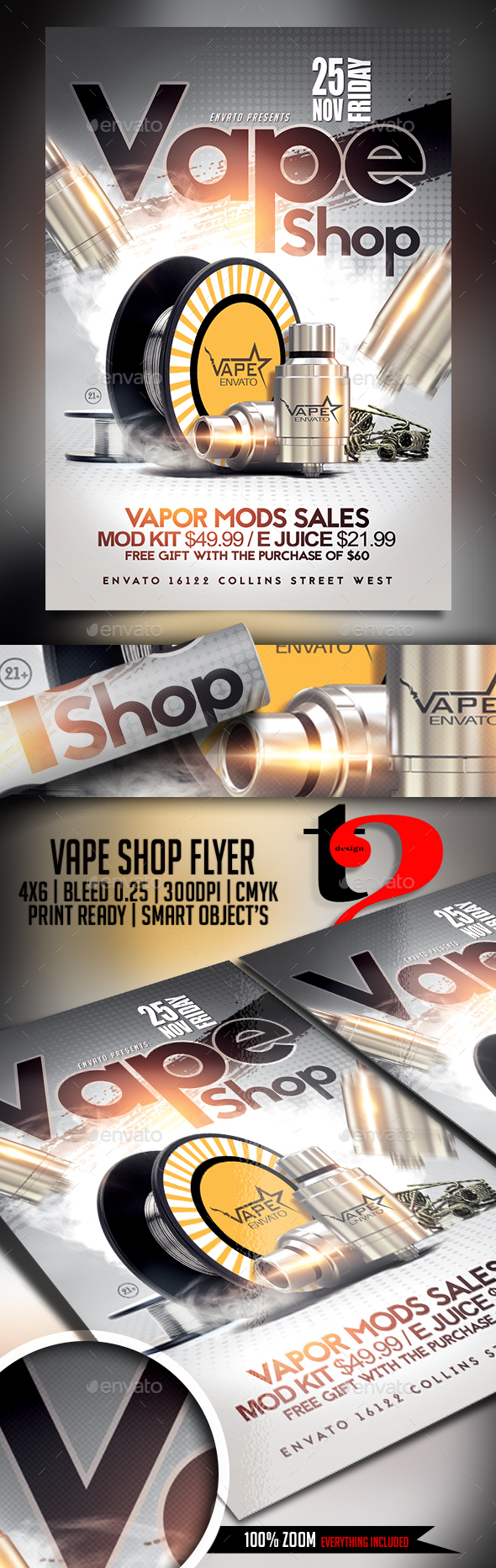 Vape Shop Flyer Template - Clubs & Parties Events