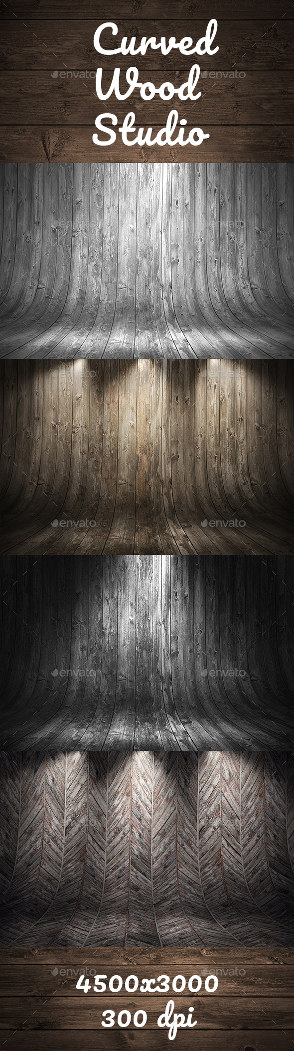 Old Grungy Curved Wooden Studio Background - 3D Backgrounds