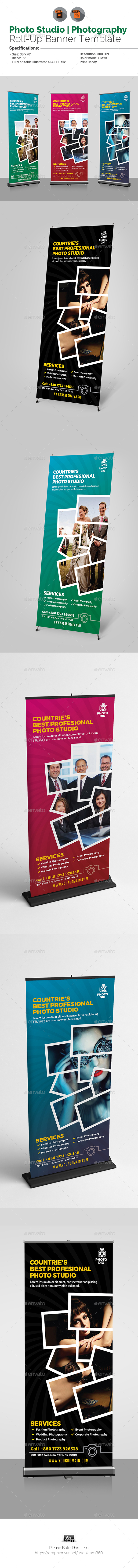 Photo Studio Flyer Roll-Up Banner - Signage Print Templates