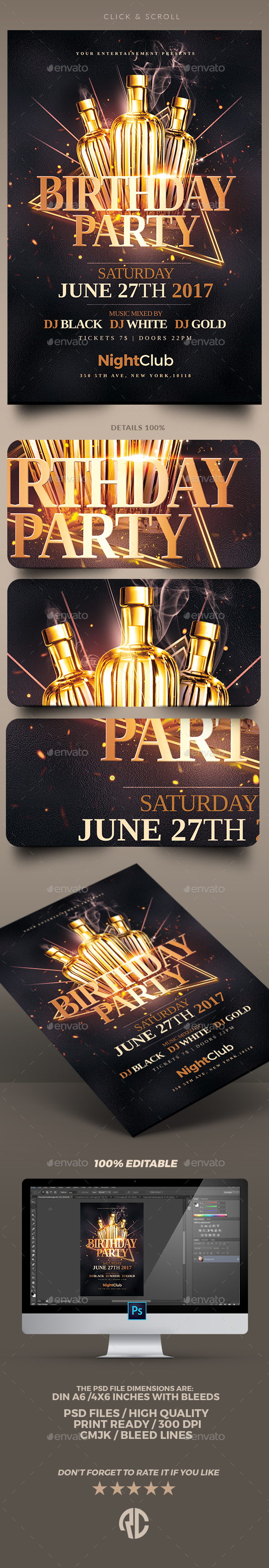 Classy Birthday Party | Flyer Templates - Clubs & Parties Events