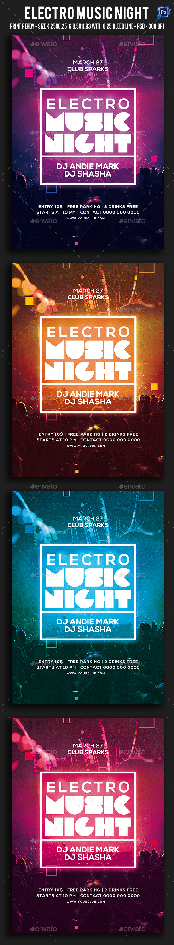 Electro Music Night Flyer - Clubs & Parties Events
