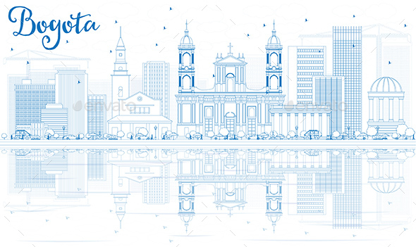 Outline Bogota Skyline with Blue Buildings and Reflections - Buildings Objects