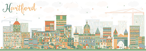 Abstract Hartford Skyline with Color Buildings - Buildings Objects