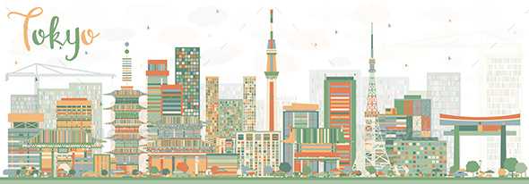 Abstract Tokyo Skyline with Color Buildings - Buildings Objects