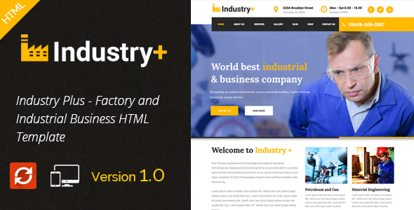 Industry Plus – Factory & Industrial Business Template
