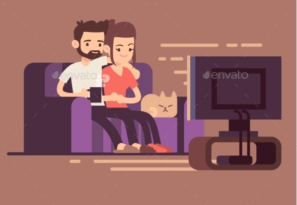 Relaxed Young Couple Watching TV at Home - People Characters