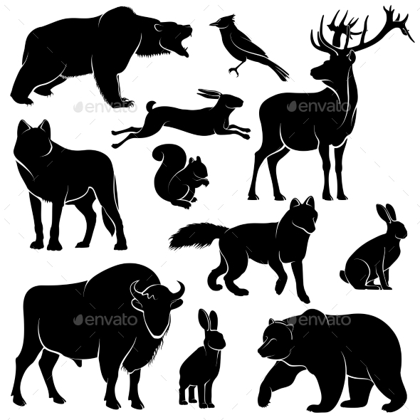 Forest Animals for Wood Design Zoology - Animals Characters