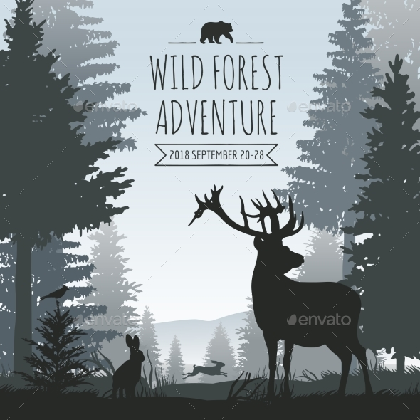 Wildlife Foggy Coniferous Forest Vector Background - Landscapes Nature