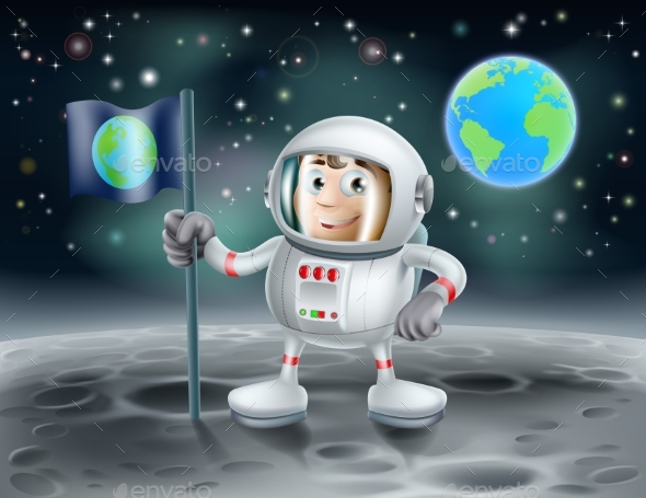 Cartoon Astronaut on the Moon - Landscapes Nature